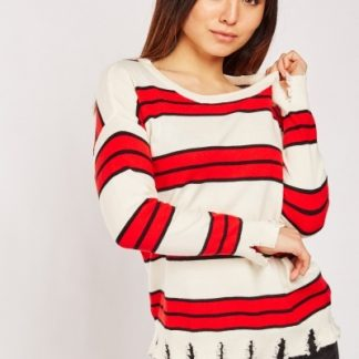DISTRESSED HEM STRIPED JUMPER