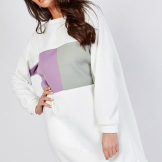 samira block colour jumper dress
